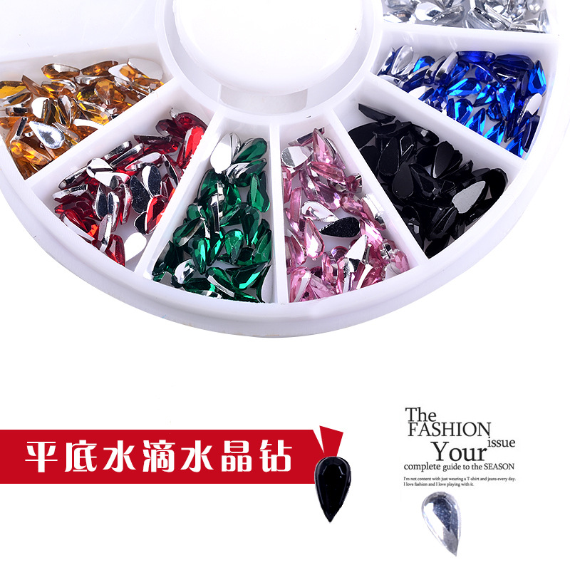 Colorful 2MM 3MM Drop Acrylic Wheel Nail Stickers Decoration 3D DIY Nail Art Tips Jewelry Rhinestones Manicure tools in Rhinestones Decorations from Beauty Health
