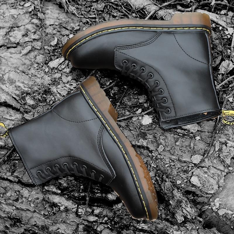 Básicos Zapatos Hombres Dr Martin Botas Los marrón rojo 1460 De Cuero El Genuino Negro v0qZ0