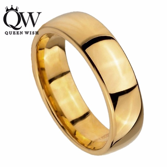 Queenwish 6mm Timeless Classic Gold Tungsten Carbide Engagement Wedding  Rings Band Comfort Fit Couple Promise Rings