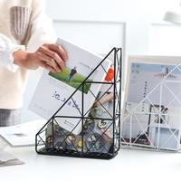 ins popular Europe style iron book storage holders & racks hook type magazine holder creative desktop black white metal rack