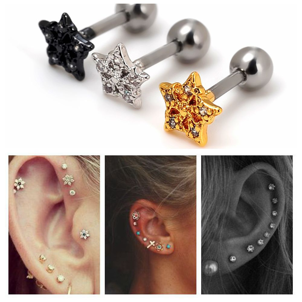 five-star mini earrings,plated siliver earrings,hypoallergenic medical steel earrings , Korean fashion jewelry