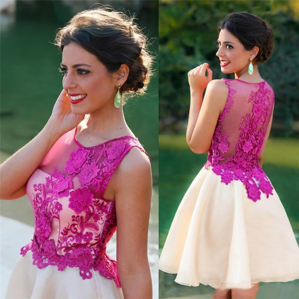 Sheer 3D Floral Appliques Cocktail Dresses Jewel Neckline Sleeveless Prom Gowns Short Length Fuchsia Fashion Evening Dress