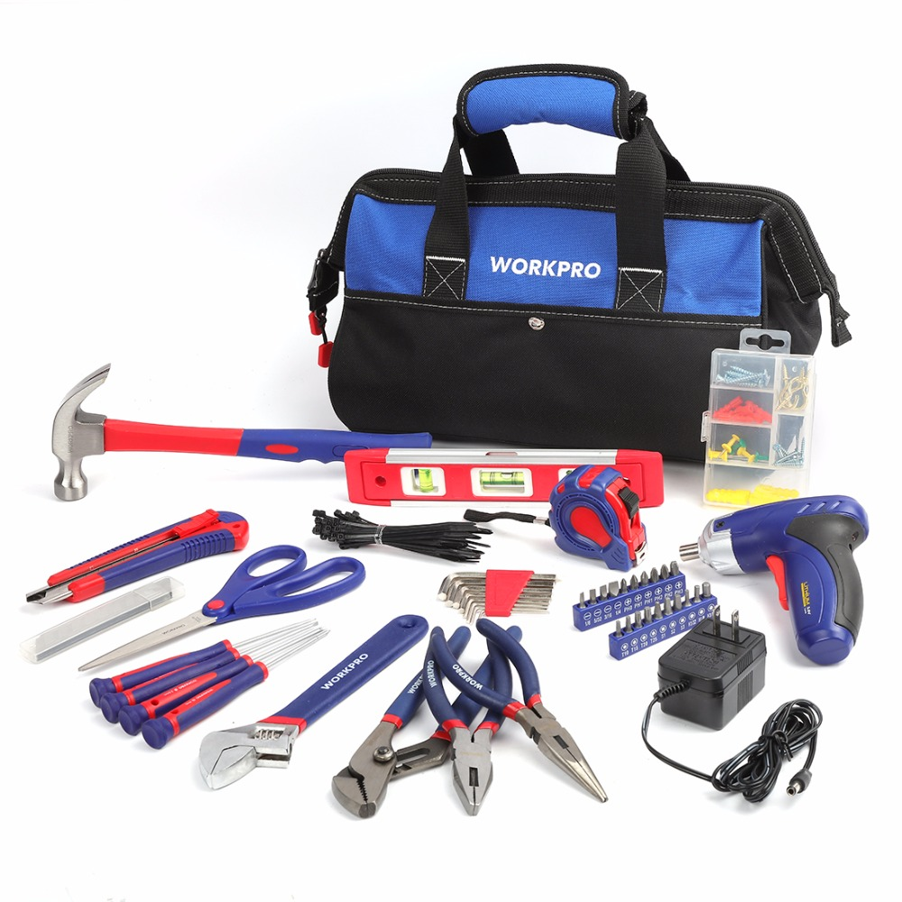 WORKPRO Tool Kit Home Repairing tools Set with 3.6V Rechargeable Screwdriver and Tool Bag 125-piece hand tool set стоимость