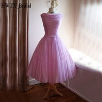1950s Tea Length Mother Of The Bride Dresses Plus Size Boat Neck Lilac Chiffon Corset 2018 Prom Ball Gown Party Formal Dress