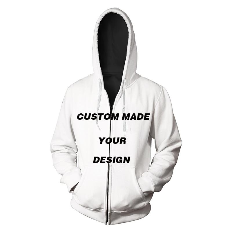 Dropshipping DIY Custom Full Print Hoodies 3D Digital Printed Sweatshirt Unisex Adults Zipper Hoodies Outwear Coat S-3XL EU Size