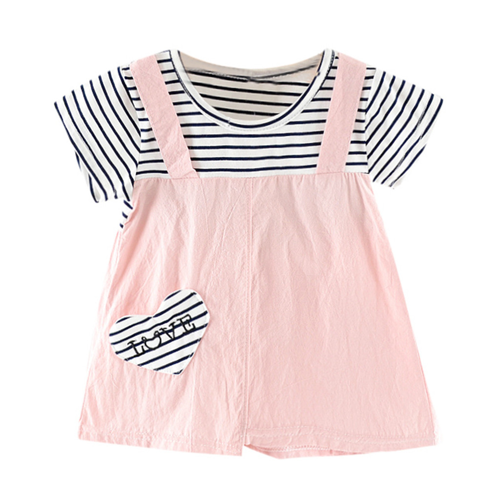 Teen Kids Toddler Baby Girls Dress Love Heart Striped Sundress Little Princess Dresses Outfits Skirt 0-6 Years