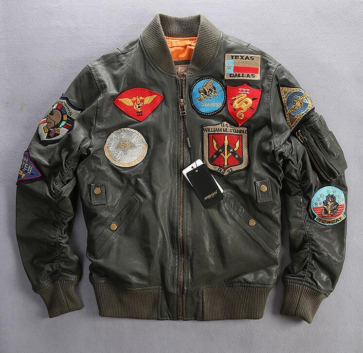 Factory AVIREXFLY men leather jacket suede baseball clothing rubbing embroidered flight suit jacket men short coat M-3XL