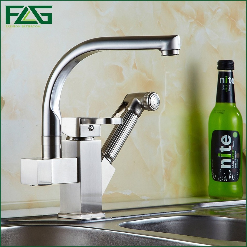 Kitchen Faucet Dual Sprayer Swivel Spout Kitchen Sink Faucet Brushed Nickel Rotatable Copper Pull Out Kitchen Faucets