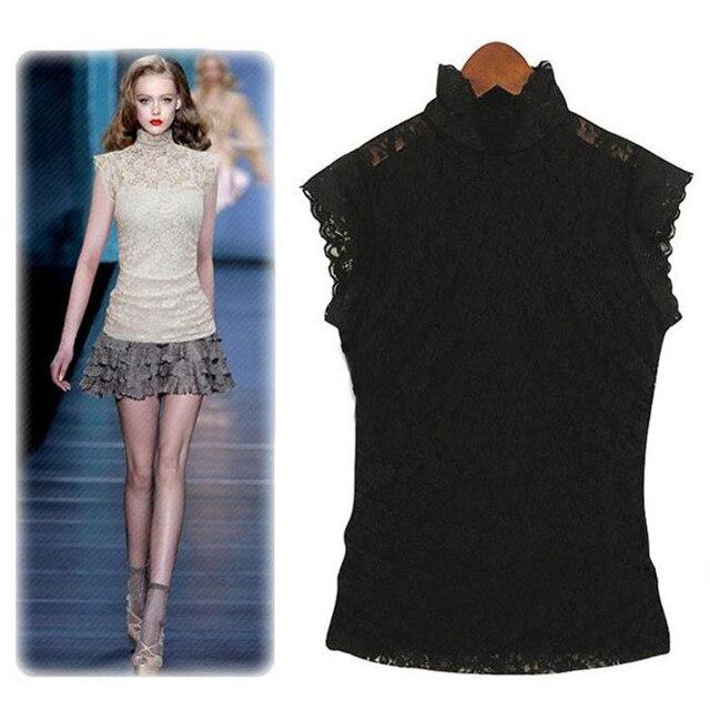 7144f977 2016 summer stand collar sleeveless lace basic shirt short-sleeve vintage women's  chiffon shirt
