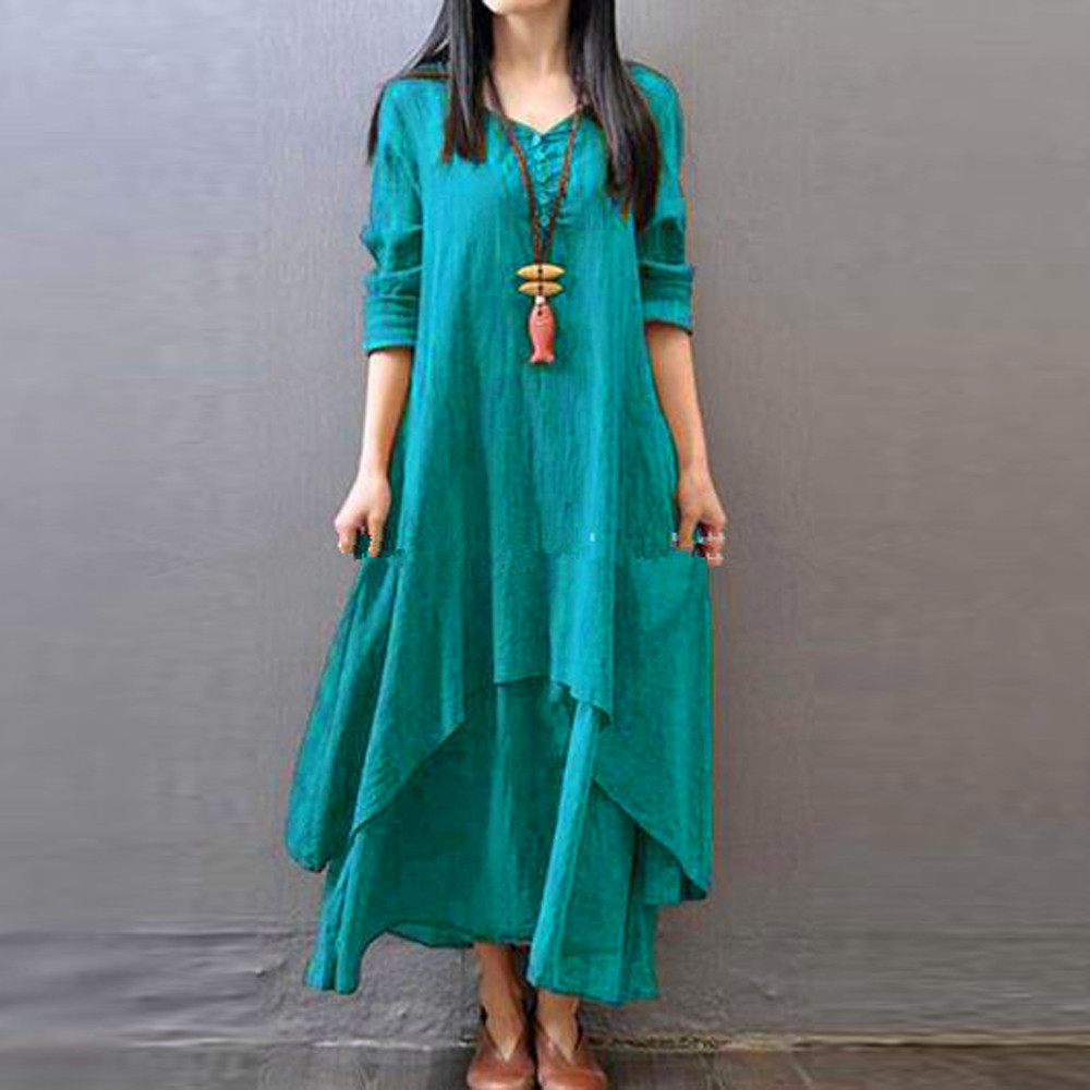 Fashion Women Peasant Ethnic Boho Autumn Cotton Linen Long Sleeve Maxi Dress Gypsy Shirt Dress Kaftan Vestidos De Verano W708