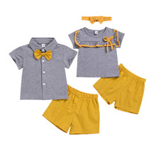 OKLADY Summer Twin Infant Clothing Boy Suit Bow Tie Clothes Set Gray Toddler Girl Hair Band Baby Unisex Casual