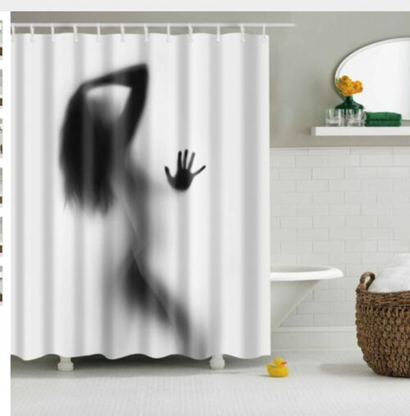 High Quality Waterproof Women Shadow Shower Curtain With Hooks Sexy Girl Portrait -4954