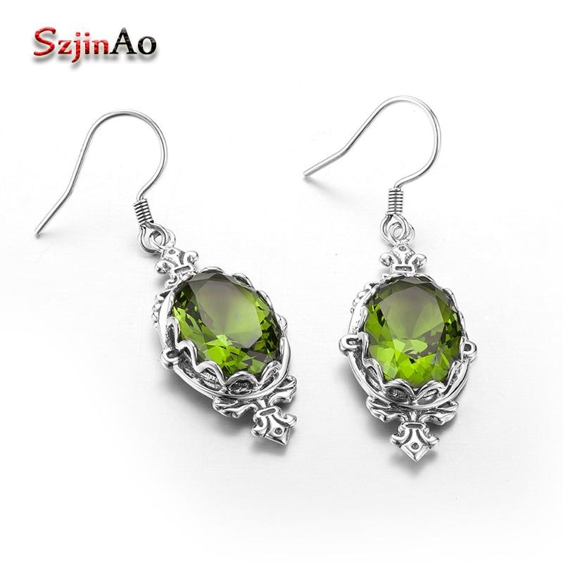 Buy now Szjinao New Crown 7.1 ct Olivine Edward Women Vintage 925 Sterling Silver Earrings