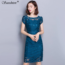 2019 Brand New Summer Women Dress Lace Elegant Sexy Hollowing Out Short Sleeve Casual Fashion Vestidos Party Vintage