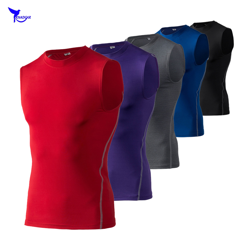 Quick dry mens sleeveless compression running vest summer bodybuilding jogging tank tops breathable fitness workout muscle shirt