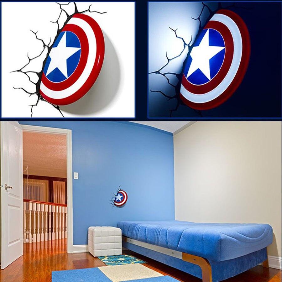 Marvel Avengers Captain America 3D Deco Light Shield bed led hammer wall lamp for kids&home decoration avengers alliance hot toys led captain america shield wall lamps 3d poster wall lamps home