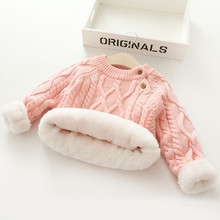 Kids Sweater 1T 6T pure color 2020 Autumn Winter boy girl kid thick Knitted bottoming turtleneck Plus velvet pullover sweater