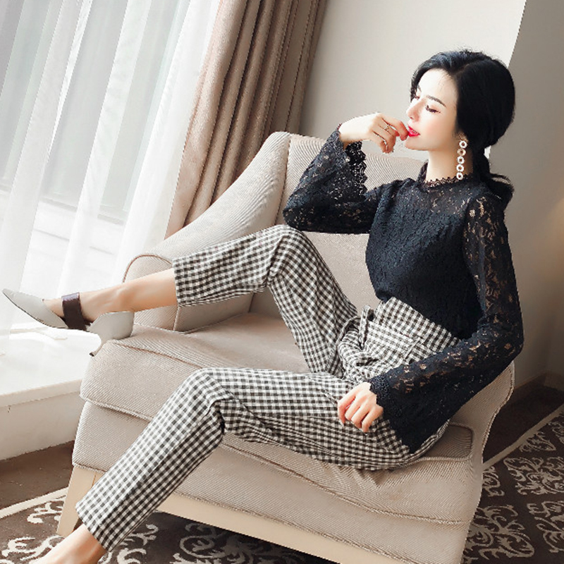 Casual womens 2018 spring new style temperament fashion sets round neck lace Tops + high waist lattice pants elegant two-piece