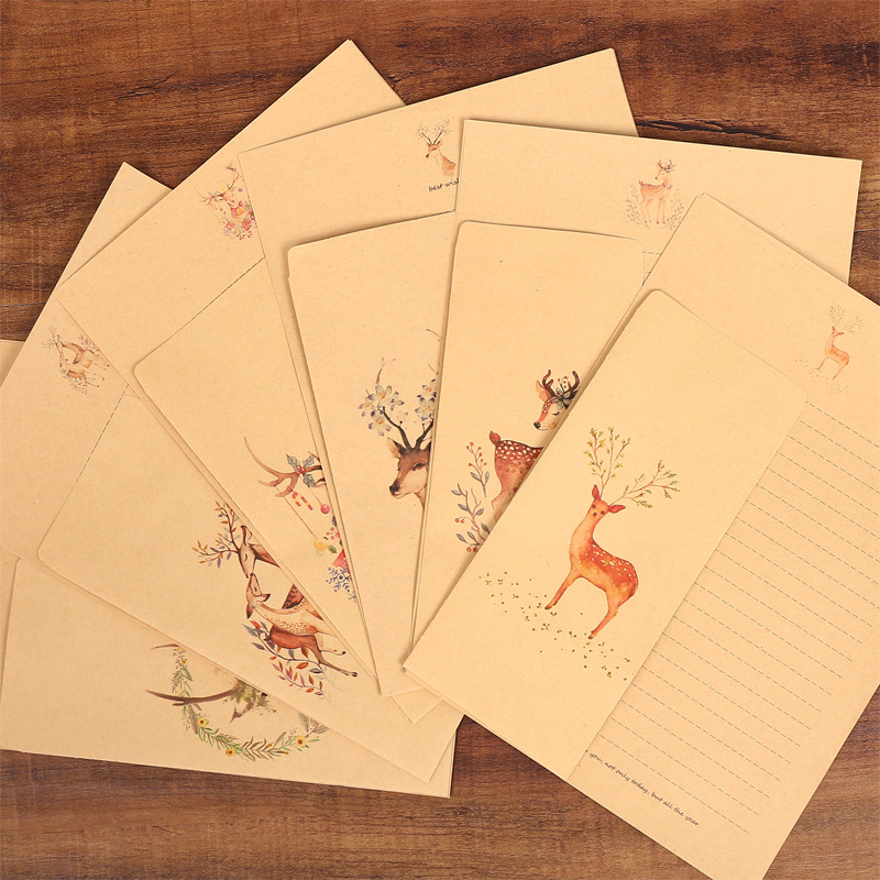 6 Design Retro Kraft 10 Paper Envelopes 10  Writing Letter Paper Sets Fresh Elk Cross Line Lovers Mail Office School Stationery
