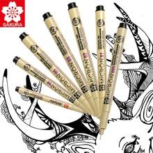 Sakura 6 pces pigma micron caneta, arquivamento pigmento tinta desenho canetas manga conjunto básico para o artista 005,01, 05,08, fb escova, gelly rolo branco