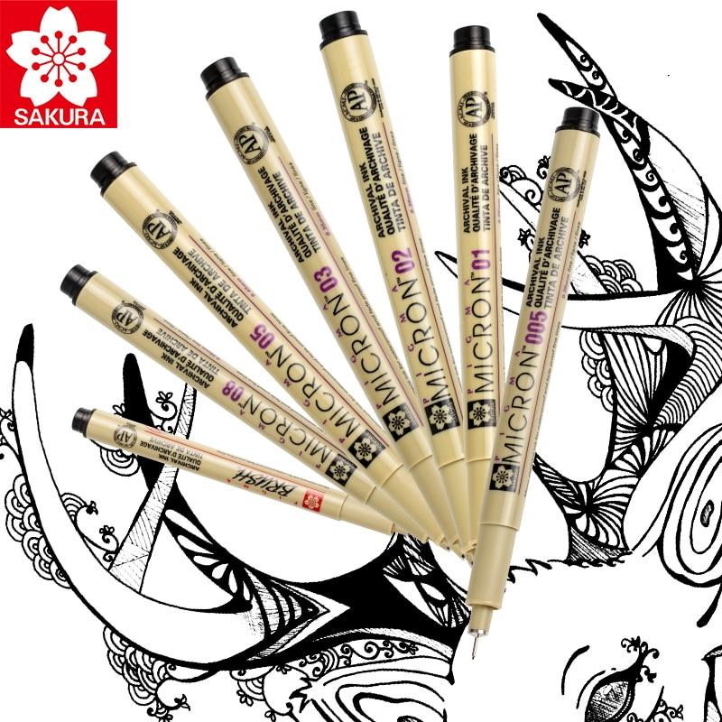 Sakura 6pcs Pigma Micron Pen,Archival Pigment Ink Drawing Pens Manga Basic Set for Artist 005,01,05,08,FB Brush,Gelly roll White