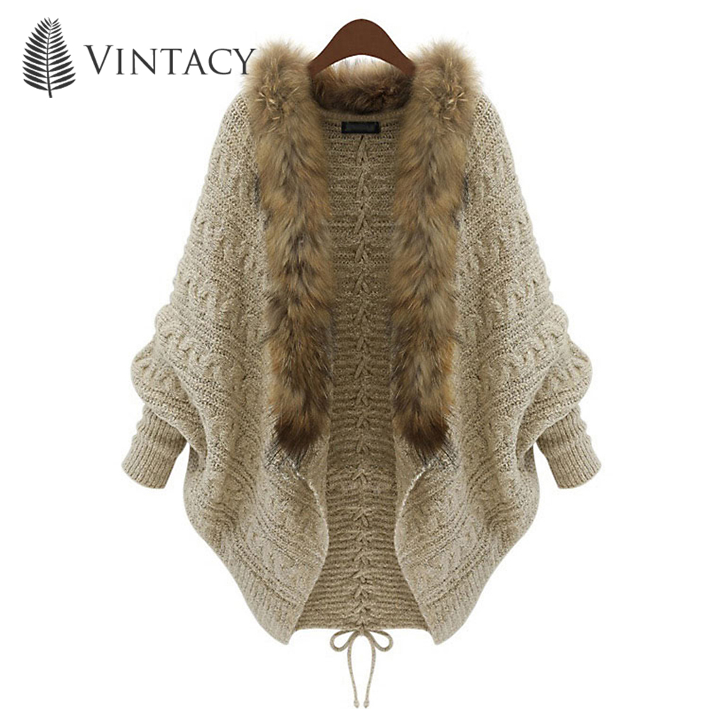 Women Sweater Cardigan Fashion Batwing Sleeve Wool Fur Collar Jacket Tops Lace-Up Casual Loose Elegant Long Sleeve Knitted Coat ...