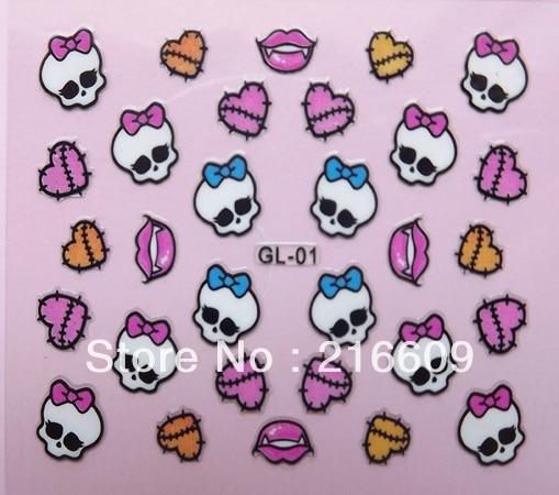 500setslot 3d Monster Highs White Black Skulls Pink Bow Nail Art