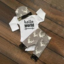 Олень ползунки малыш девочки леггинсы мальчики костюмы шт./компл. топы детская осень