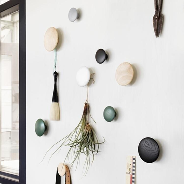 Wall Mushroom Robe Hooks Home Decoration Wall Hanger With Nail Natural Oak Wood Button Handrail Wall Storage Shelf Rack