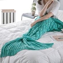 towel beach Women Fashion Mermaid Tail Blanket Warm Knitted Sofa Birthday Gift Home Bedroom Decor