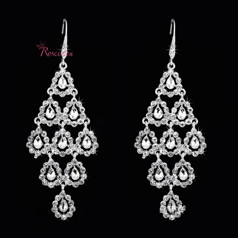 rhinestone long bridal earring wedding chandelier earring flroal ...
