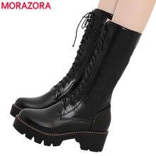 MORAZORA 2020 새로운 여성의 중반 송아지 부츠 레이스 업 플랫폼 부츠 라운드 발가락 가을 겨울 botas 숙녀 신발 크기 34 43