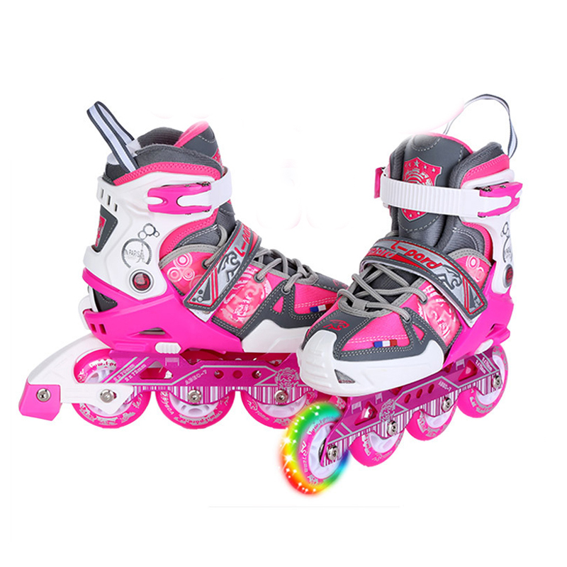 Slalom Flash Roller Skate Shoes Protective Suit For Kids Inline Daily Street Brush Skating Unisex Adjustable Skating Shoes IA05 1 pair lovely children inline ice skate roller skating shoes with brake adjustable washable pe aluminum alloy stent pu wheels