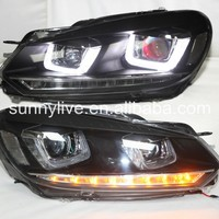 Golf 6 LED devil eye Head Light with projector lens 2009 2013 YZV2 Type