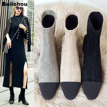 Bailehou Women Thick Heel Ankle Boots Women Slip On Brand Short Boots Solid Dress Motorcycle Botas Mujer Shoes Stretch Sock Boot цены онлайн