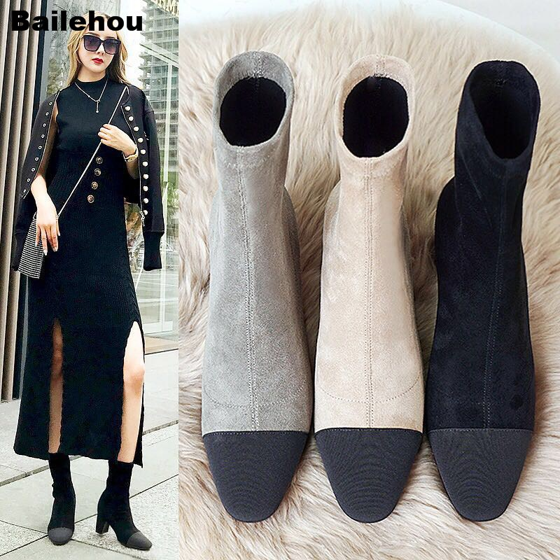 Bailehou Women Thick Heel Ankle Boots Women Slip On Brand Short Boots Solid Dress Motorcycle Botas Mujer Shoes Stretch Sock Boot