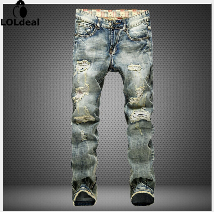 European Grand Prix men s jeans straight beggar hole in the European version of the influx