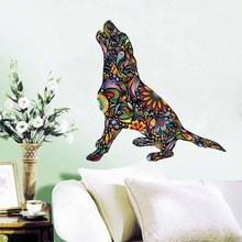 Barking Beagle Dog Color Wall Sticker For Living Room Floral Pattern Art Decal Removable Wallpaper Ethnic Unique Home Decor