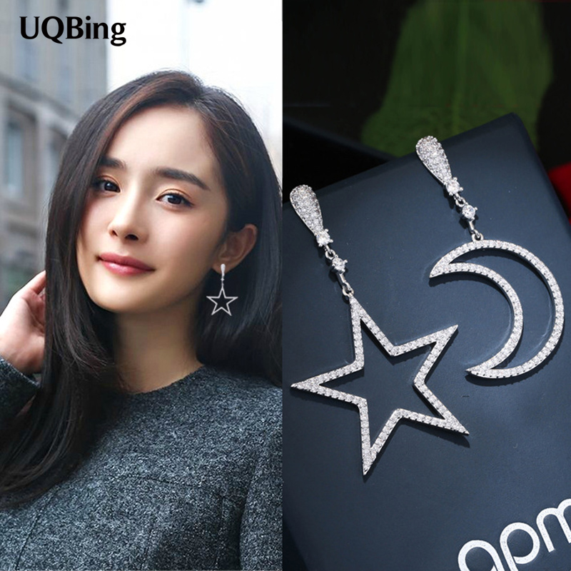 все цены на 2017 Best Fashion Style 925 Sterling Silver Crystal Rhinestone Moon Star Stud Earrings For Women Jewelry Free Shipping Brincos