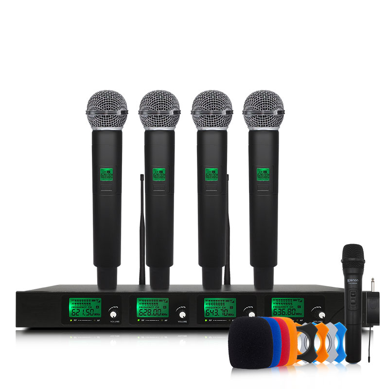 Top Quality 4 Channel Wireless Microphone System UHF Karaoke System Cordless Four Handheld Microphone Kalaoke Stage Microphone leory uhf wireless microphone system 4 channel uhf receiver karaoke microphone system with four mic for diy family ktv singing