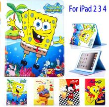 Tablet Case for Apple ipad 2 3 4 ipad4 Cartoon Mickey Stitch SpongeBob PU leather protective Cover stand shell coque para capa недорго, оригинальная цена