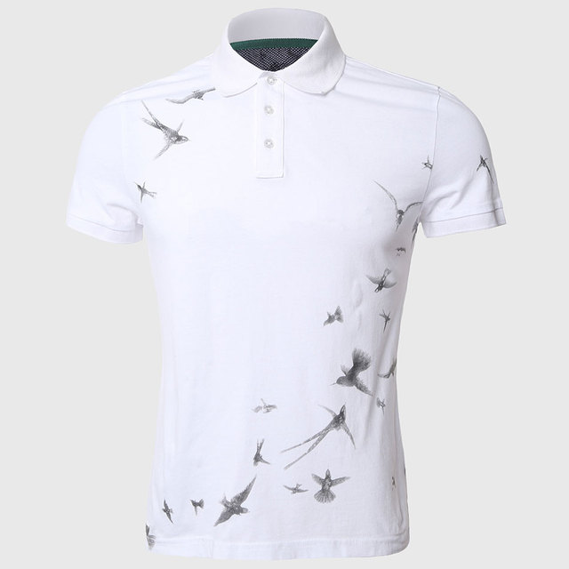 Hombres swallow imprimir polo camisas casual fit de manga corta camisa de polo blanco turn down collar animal libertad patrón elegante