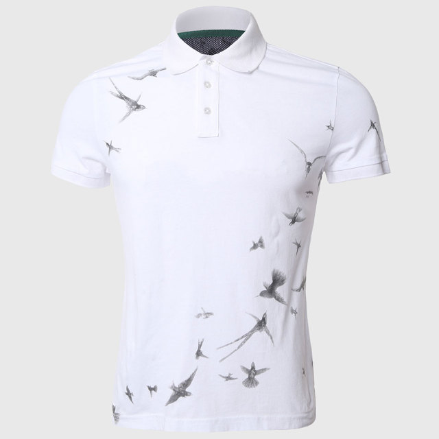 Men Swallow Print Polo Shirts Casual Fit Short Sleeve Polo Shirt White Turn Down Collar Animal Pattern Freedom Stylish