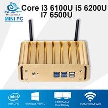 Безвентиляторный офис мини-компьютер Intel Core i7 6500U i5 6200U i3 6100U Mini PC Windows 10 Barebone 4 К HTPC HDMI Desktop Computador