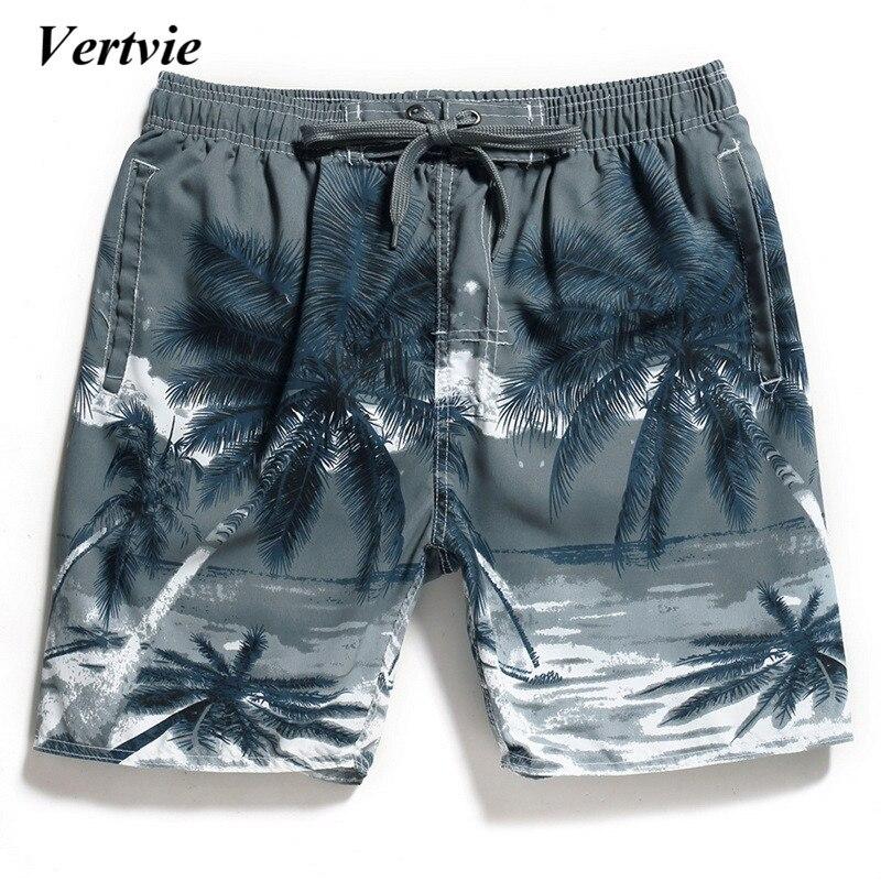 Vertvie Hombres Calientes Bermudas verano ropa Coconut Árboles bañadores playa Pantalones cortos hombres surf Trunks secado rápido Natación troncos