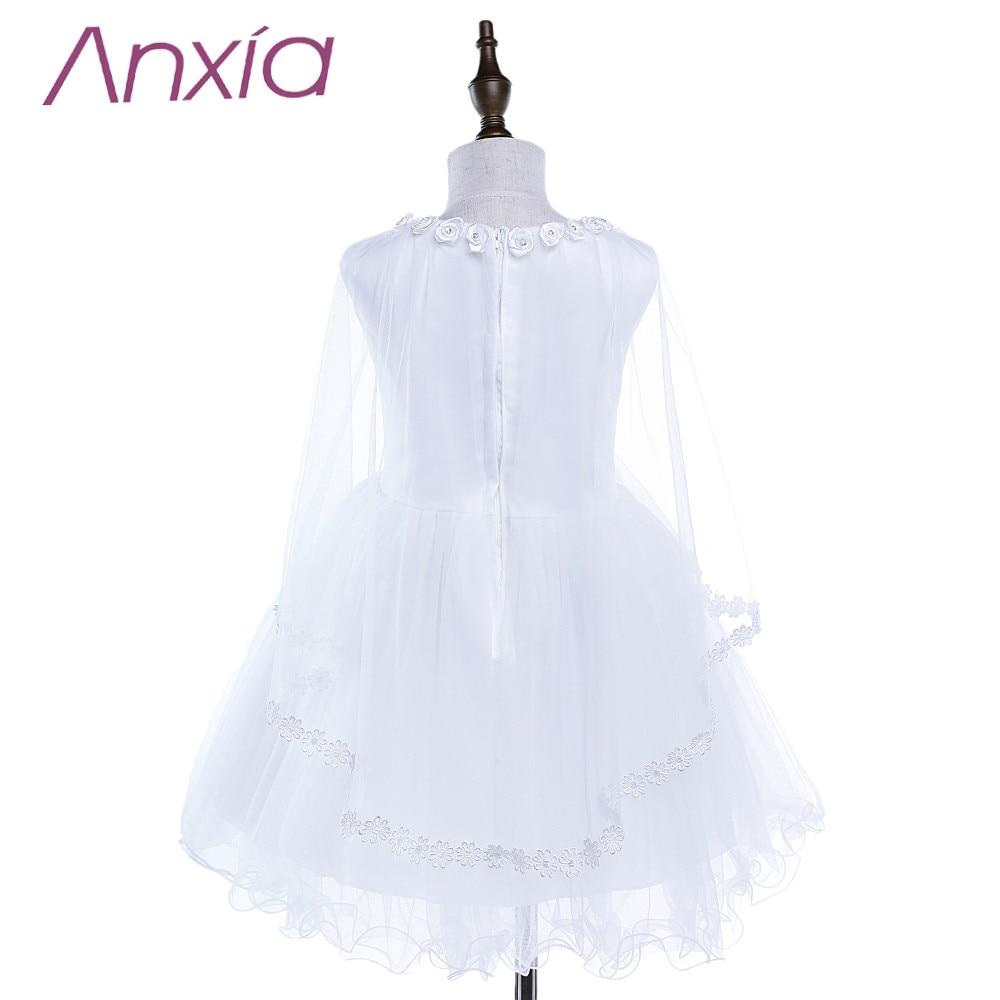 2016 Bijela Brand New Cvjetni Djevojka haljina s Cape Anxia Stvarni - Vjenčanje večernje haljine - Foto 2