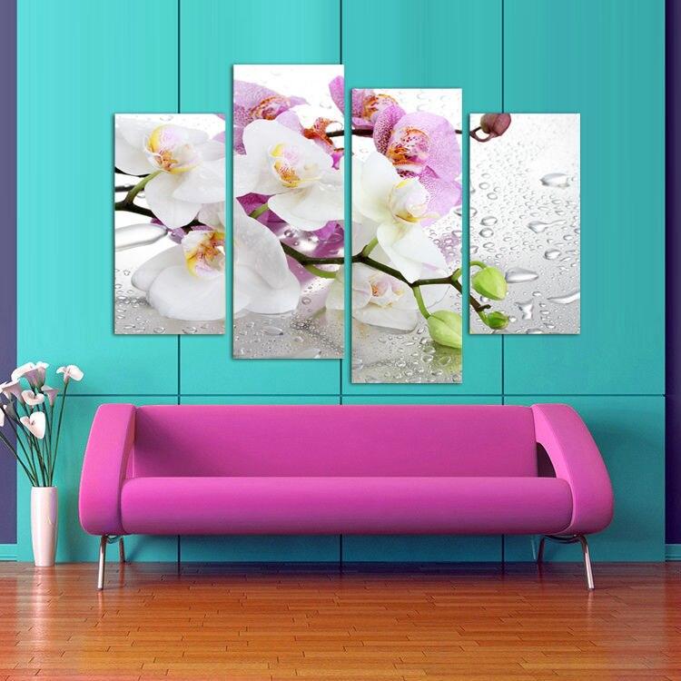 4 panel, Bunga putih tanaman seni dinding lukisan modular mencetak di - Dekorasi rumah - Foto 2