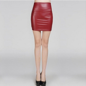 Фото #1: Fashion PU Leather Women Short Skirt Sexy Back Zipper Skirt A-line Package Hip Mini Skirts Ladies Cl