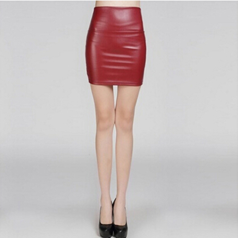 Fashion PU Leather Women Short Skirt <font><b>Sexy</b></font> Back Zipper Skirt A-line Package <font><b>Hip</b></font> Mini Skirts Ladies Clothes Plus Size 3XL image
