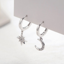 925 Sterling Silver Asymmetry Star Moon Drop Earrings Mosaic Zircon Elegant Korea Earrings for Women 925 Festival Jewelry Gift v ya 925 sterling silver moon shape drop earrings elegant green opal stone earrings vintage women earrings female fine jewelry
